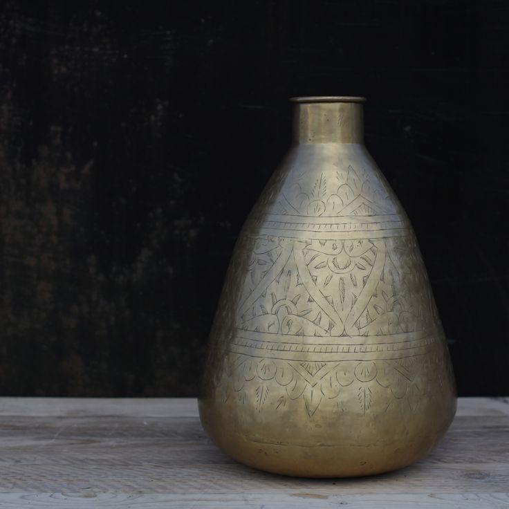 Antique Brass Pot | Solid Brass Pot | Vase | Design Vintage