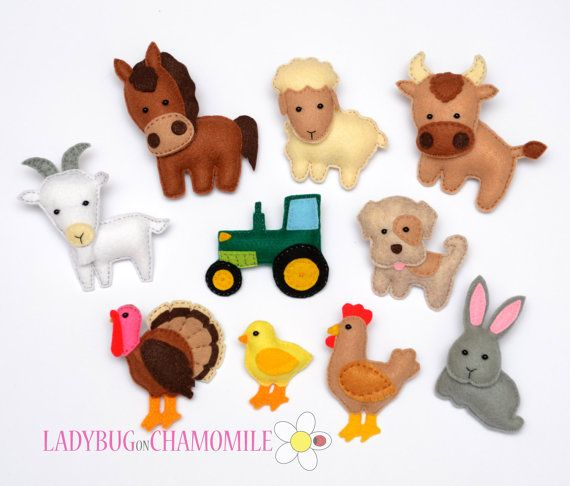 Felt Farm Animals part2 fridge magnets by LadybugOnChamomile, $89.99