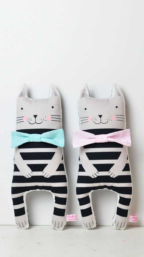 handmade fabric kitten soft toys for kids play and nursery decor - by PinkNounou