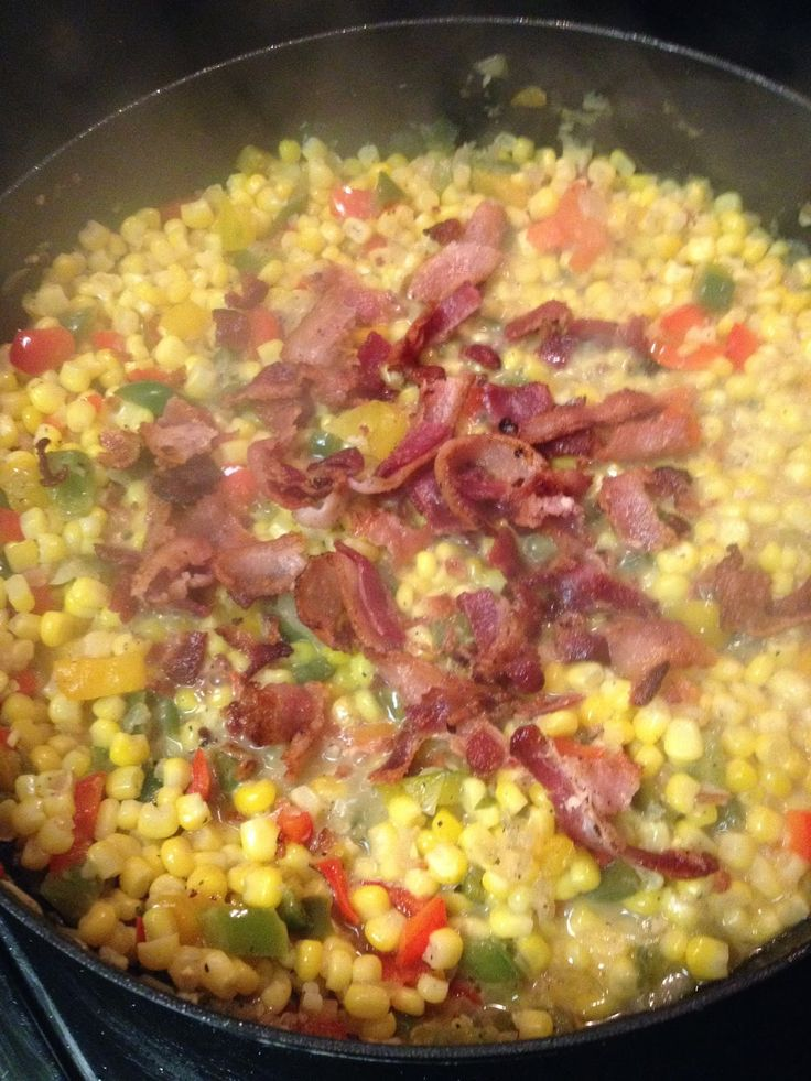 #Corn Maque Choux (a traditional dish of southern Louisiana) onions, red/green bell peppers, #bacon - goood!