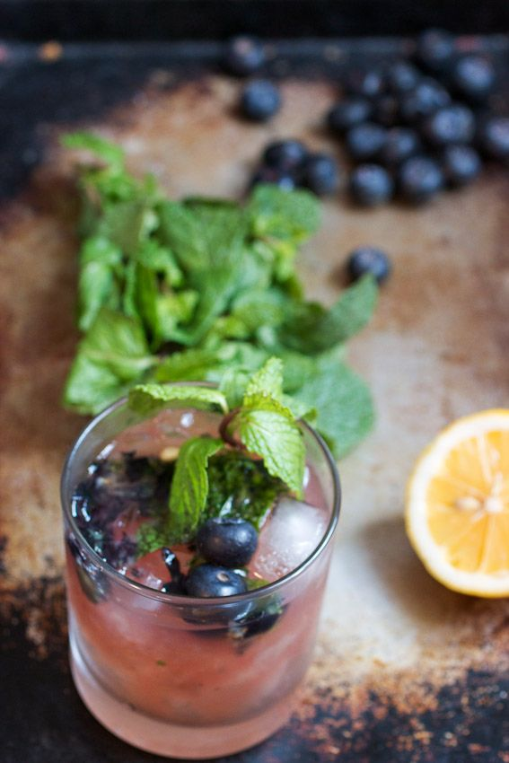 Blueberry Bourbon Smash #brunchweek from The Girl In The Little Red Kitchen