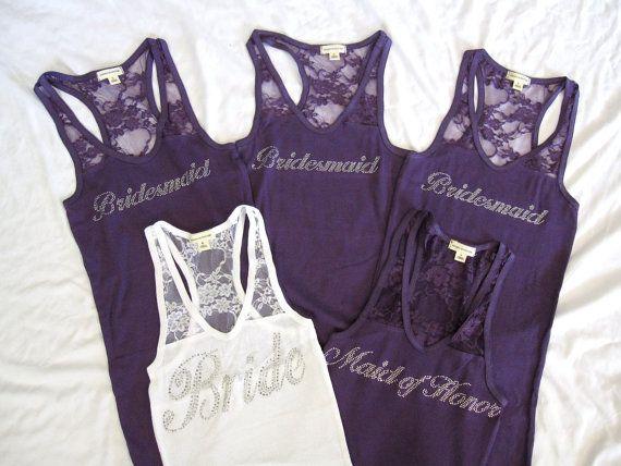 5 Bridesmaid Tank Top Shirt. Half Lace. Bride, Maid of Honor, Matron of Honor. Purple, Black, White, Pink, Coral, Tiffany Blue
