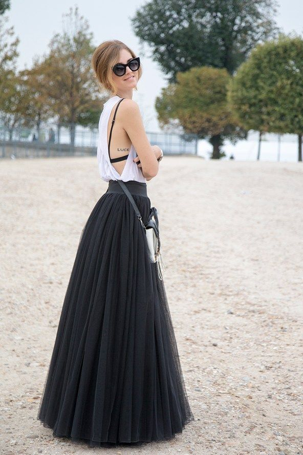 Chaira Ferragni, blogger Alberta Ferretti top with a Salvatore Ferragamo skirt.