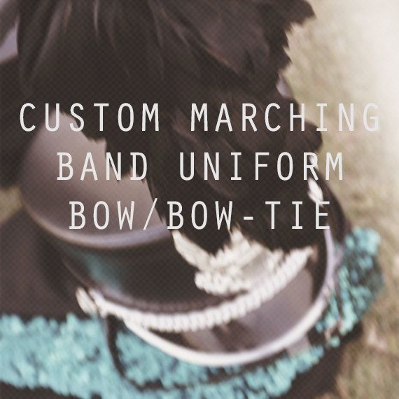 Custom Marching Band Uniform Bow/Bowtie by BowMelodies on Etsy, $8.00 One of the 7th uniform and one of the colorguard uniform!