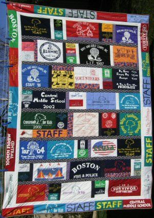 T Shirt Quilt Ideas- I have lots of shirts but need someone to make this for me!