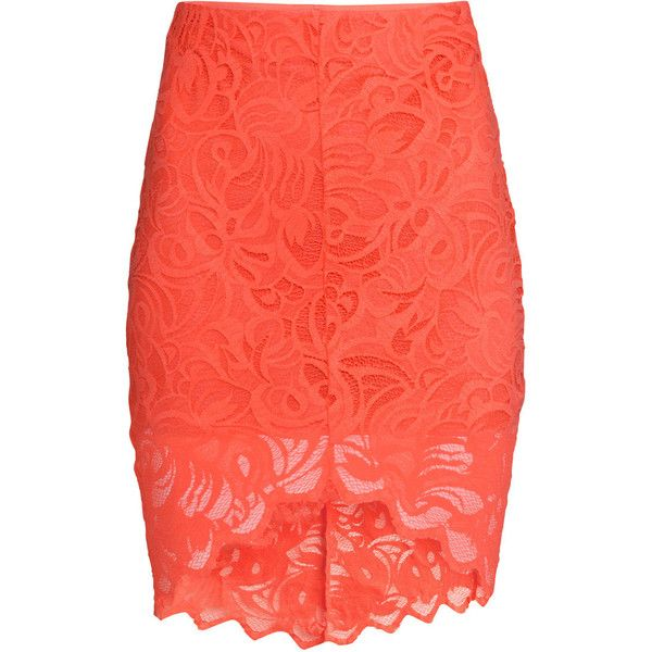 H&M Lace pencil skirt ($26) ❤ liked on Polyvore featuring skirts, bottoms, coral, lacy skirt, h&m skirts, lace skirt, knee length pencil skirt and elastic waist skirt