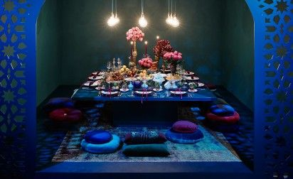 Inspired by the Three Kings  the food is presented on large platters, along with a combination of both antique and modern wine glasses and are all presented on a wonderfully glossy emerald green table to create a contemporary version of Middle Eastern flair