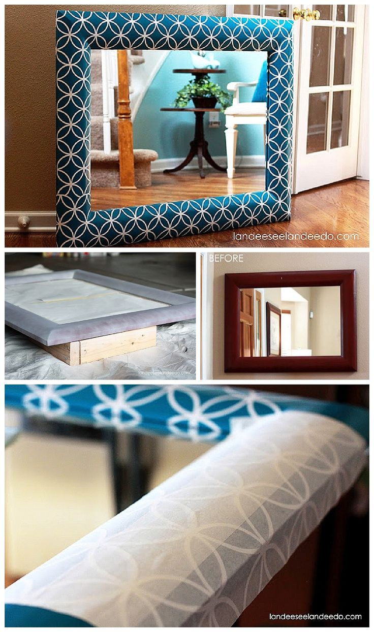 Give an old cheap mirror or picture frame a makeover using a pretty vinyl pattern and some paint! DIY Step by Step Tutorial - landeelu.com