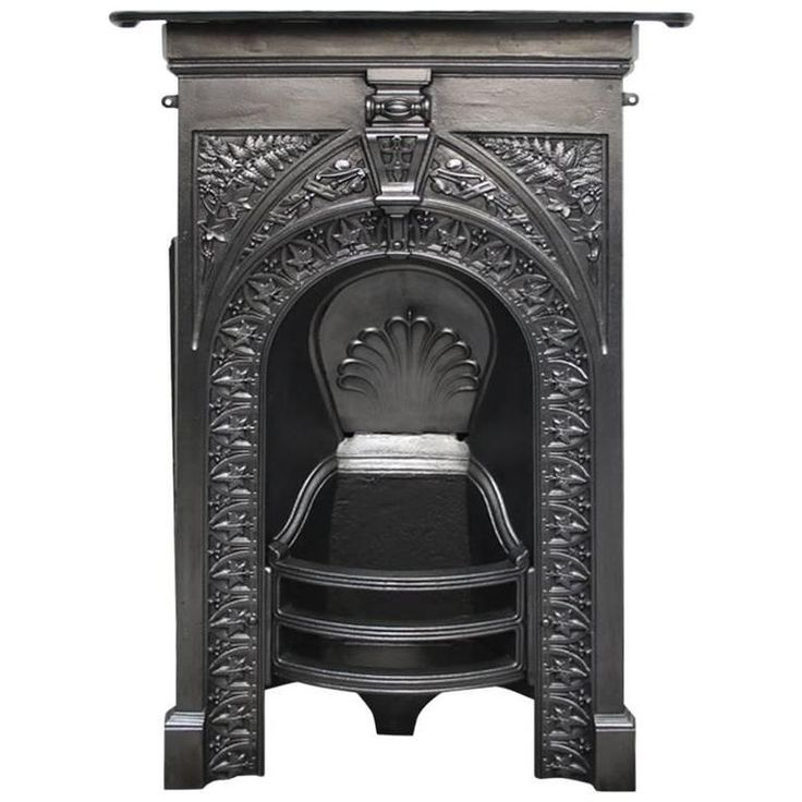 Small 19th Century Late Victorian Cast Iron Bedroom Fireplace | From a unique collection of antique and modern fireplace tools and chimney pots at https://www.1stdibs.com/furniture/building-garden/fireplace-tools-chimney-pots/