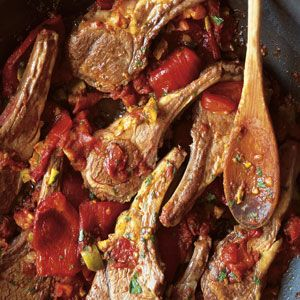 Costolette d'Agnello alla Calabrese (Lamb Chops Calabria Style with Tomatoes, Peppers, and Olives)