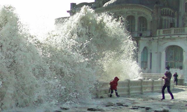 The Black Sea Freezes near the Casino in Constanta, Romania