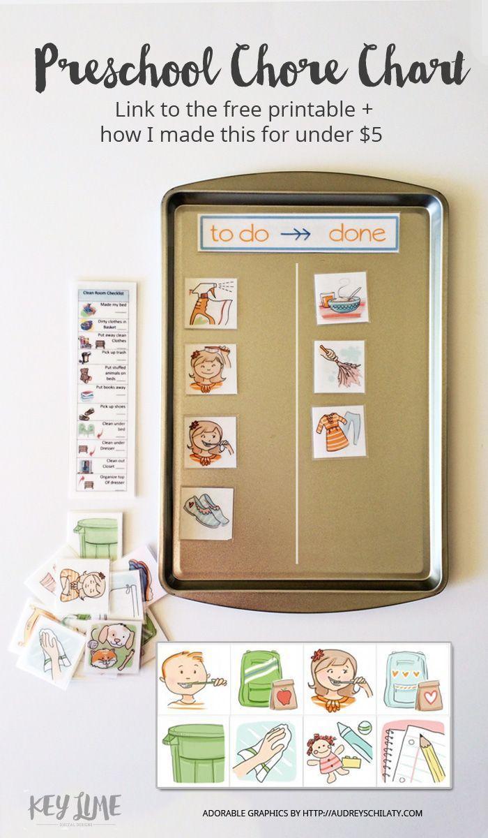 DIY Chore Charts - Preschool Appropriate Children's Chore Chart System, Printables and Tutorial via Key Lime
