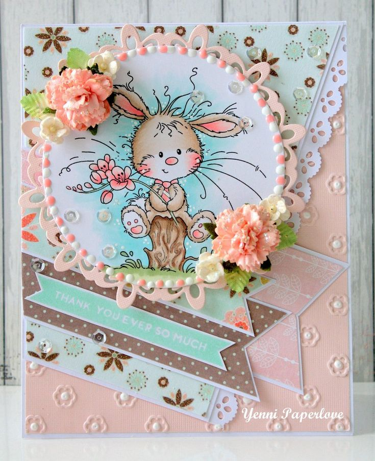 How CUTE is this little bunny card and LOVE the colors!! *NEW Freesia stamps from whimsy stamps