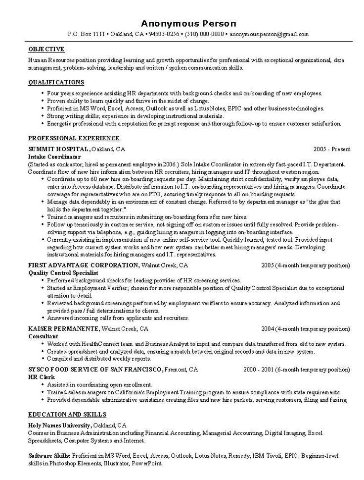 sample hr resumes  hr resume resume examples