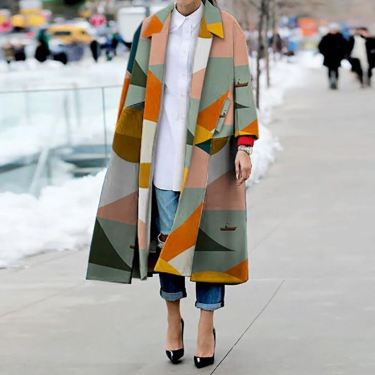 Mode umlegekragen gedruckt farbe langarm schlitzmantel
