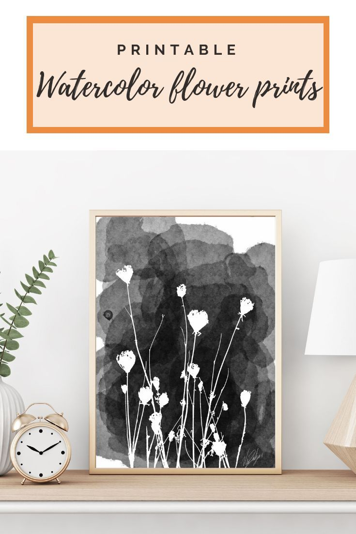 Wild Flowers Silhouette Black And White Watercolor Painting