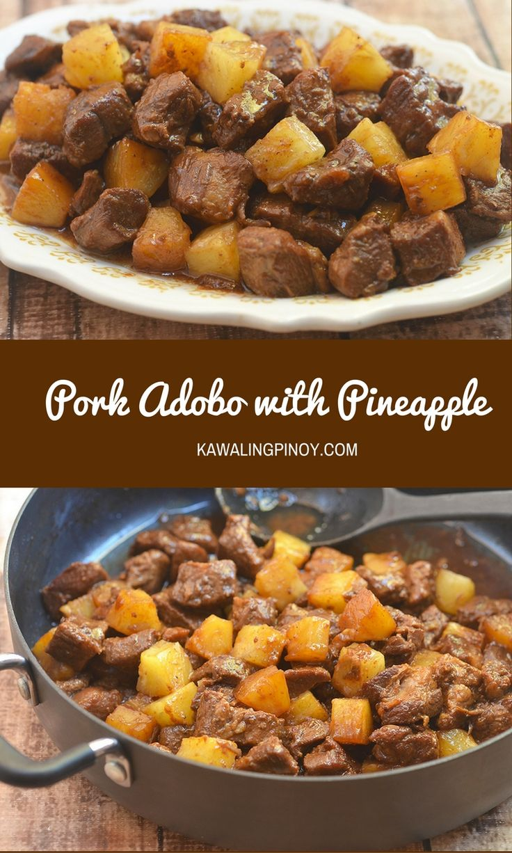 A variation of the classic Flipino adobo, Pork Adobo with Pineapple is made of succulent pork cubes, pineapple chunks in a sweet and salty sauce.