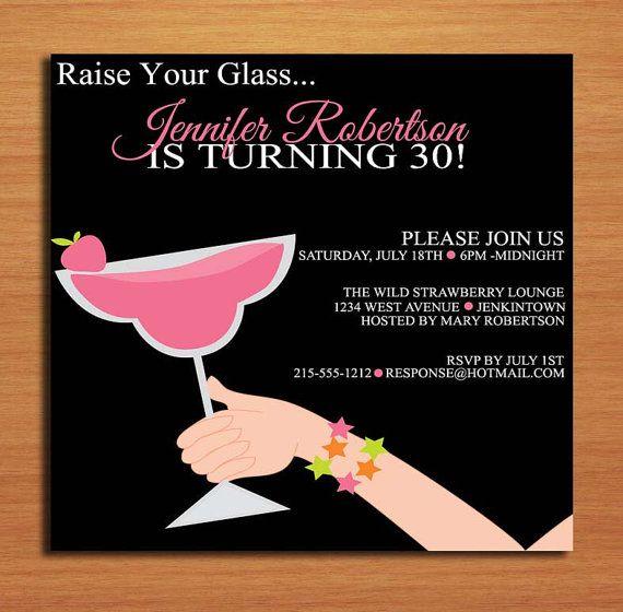 Levanta su vaso fresa / Margarita 30 cumpleaños / personalizados cumpleaños de adultos para imprimir tarjetas de invitación fiesta DIY