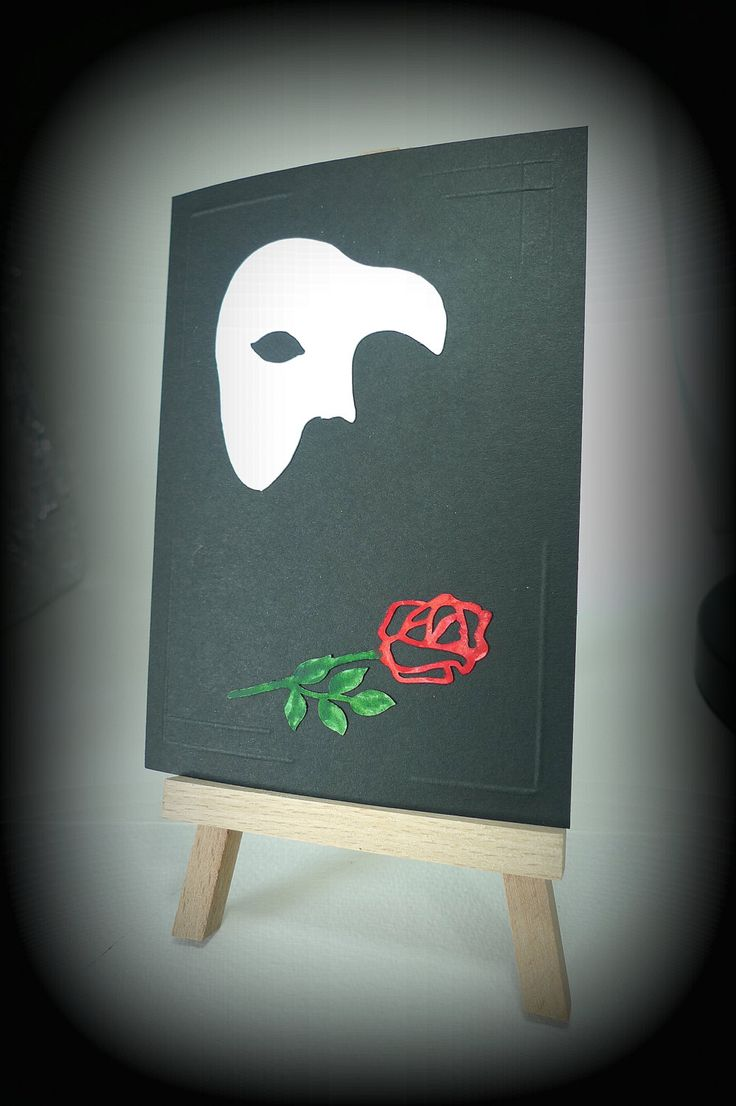 Handmade card Phantom Opera Red rose Musical card Phantom of the Opera Mask Black White Upcycled Romantic card Mothers day mcrtycards UK (3.20 GBP) by McRtyCards