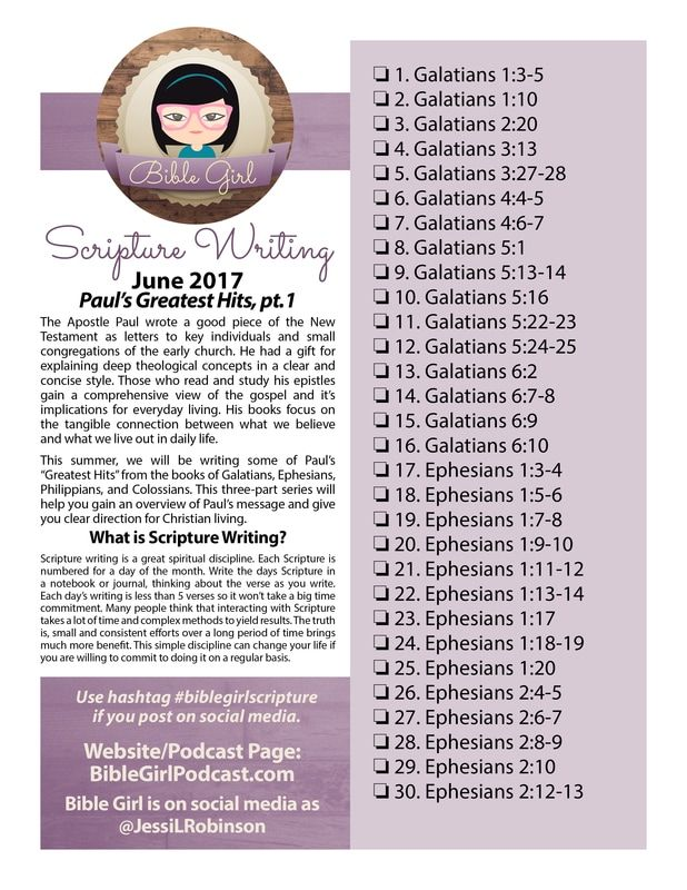 June 2017 Scripture Writing