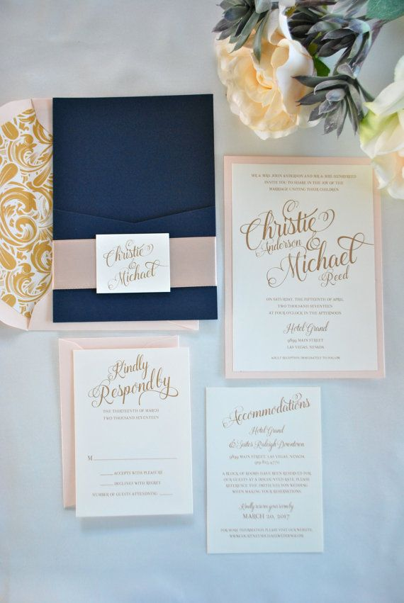 navy blue gold and blush pocket wedding invitation simply - Navy And Blush Wedding Invitations