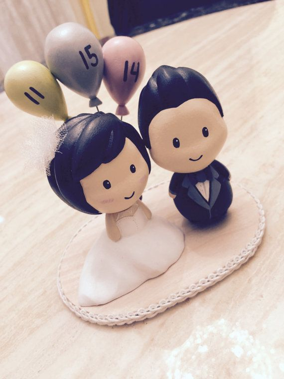 Wedding Cake Topper - Sculpture Doll - Cute Unique Modern Personalized Customizable Handmade Creative Couple Bride Groom Decoration
