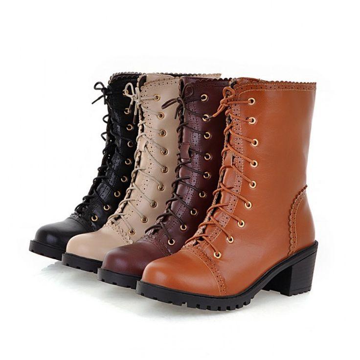 Новый Бренд Японский Стиль Симпатичные Боути Женщины Зима Лолита Обувь теплый Искусственная Кожа Зашнуровать Ботинки Способа Квадратный Каблук Платформы сапоги