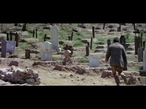 The famous 'ecstasy of gold' scene, with a greedy and ecstatic Tuco running in circles, looking for a name that can change his life in the midst of this altar of death, the cemetery called Sad Hill.