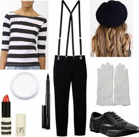 Disfraz de mimo. Disfraces de último momento en... http://www.1001consejos.com/8-sencillos-disfraces-caseros-para-mujer/