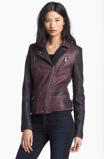 Michael Kors Two Tone Washed Leather Jacket
