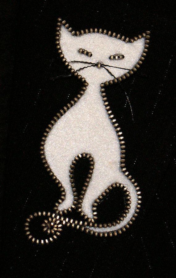 Cerniera design originale del gatto bianco e spilla handmade feltro