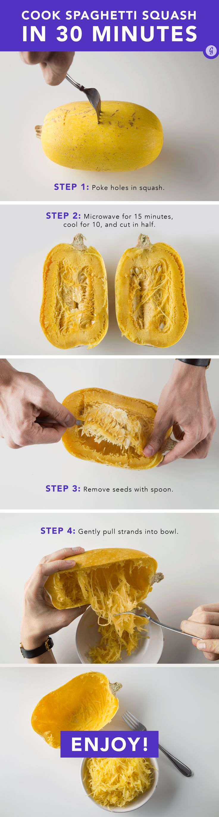 Keep this on hand for when your pasta cravings hit.  #spaghettisquash #stepbystep http://greatist.com/eat/how-to-cook-spaghetti-squash