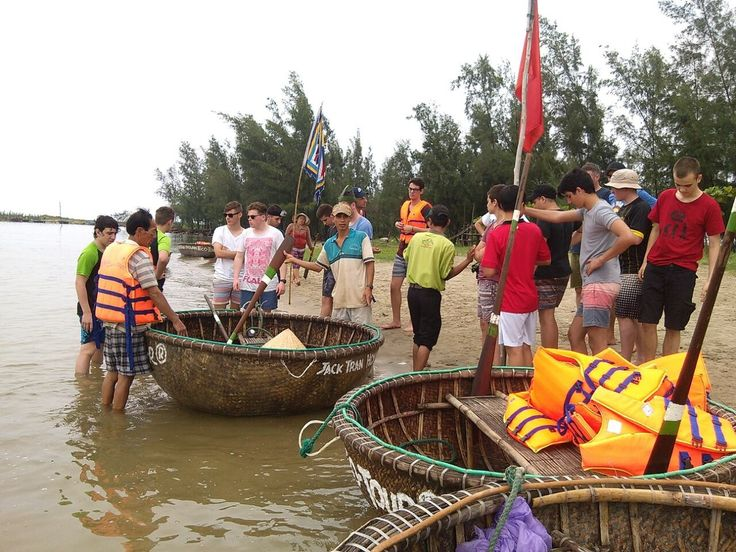 Ready to scoot across the river by #basketboat. #VietnamSchoolTours #EcoTour