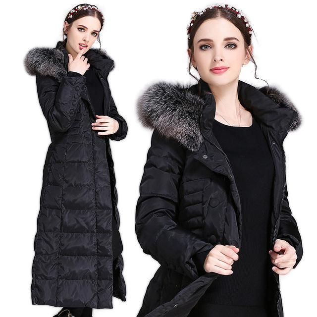 HIJKLNL 2017 New Winter Long Down Jacket With Fur Hood Women Parkas Plus Size Ladies Down Coats High Quality Warm Outwear HB224