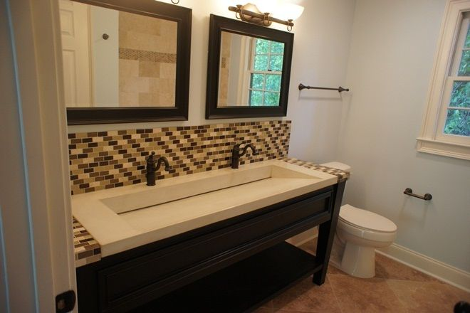 Simple Bathroom Design with Trough Sink and Mosaic Tiles