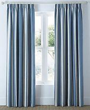 MALI STRIPED BLUE BEIGE COTTON BLEND LINED PENCIL PLEAT CURTAINS *8 SIZES*