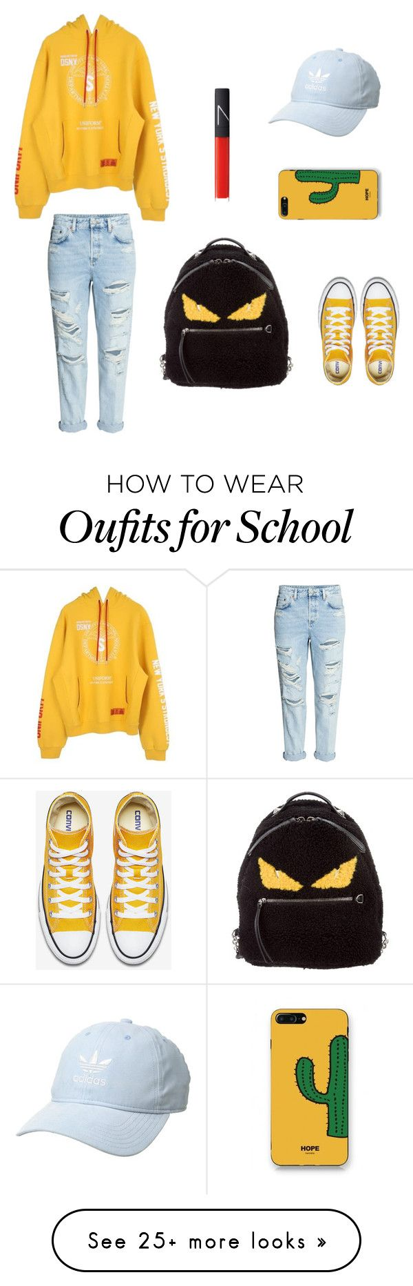 """Back to school "" by lisaachan on Polyvore featuring Heron Preston, Fendi, WithChic, adidas Originals, NARS Cosmetics, outfit, ootd and fashionable"