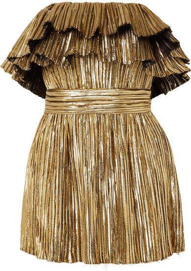 076455f491 Saint Laurent Strapless Plissé-lamé Mini Dress - Gold in 2019 ...
