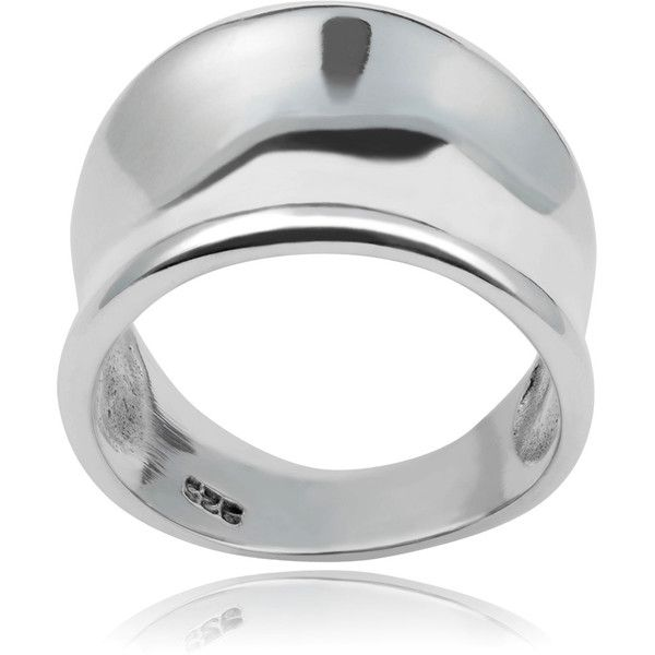 Journee Collection Women's High-polish Sterling Silver Tapered Concave... (£28) ❤ liked on Polyvore featuring jewelry, rings, silver, sterling silver band rings, sterling silver jewelry, sterling silver jewellery, polish rings and white jewelry