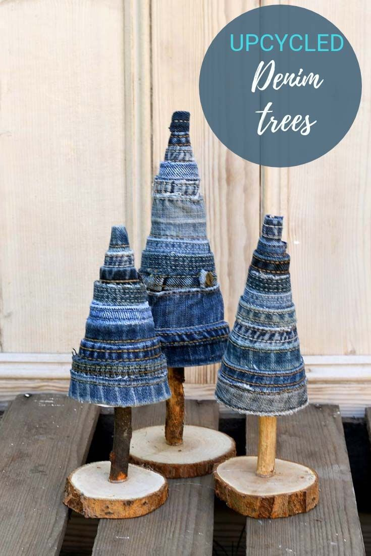 These gorgeous denim trees are made from jeans scraps.  They make a lovely fall display or decorate the tress for Christmas.  #denimcrafts #diytrees