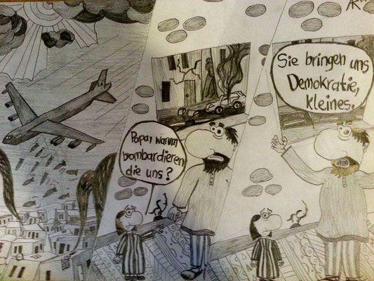 Demokratischer Kriegs-Comic (2014, Bleistift auf Papier, 21 x 29,7 cm)