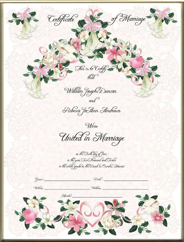 Keepsake Marriage Certificates Blank Amp Printed Hawaiian