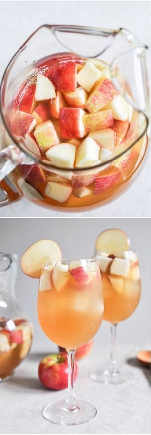 Apple Cider Sangria 1 bottle pinot grigio 2 1/2 cups apple cider 1 cup club soda 1/2 cup ginger brandy 3 honey crisp apples 3 pears