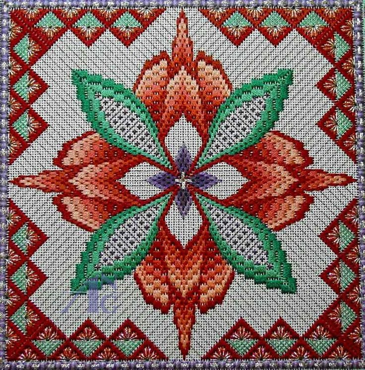 Polski Needlepoint: 2013 Stitch of the Month - październik four-way bargello needlepoint
