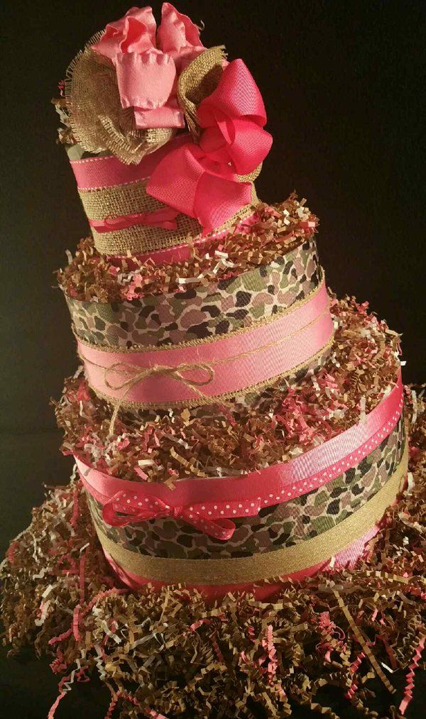 Pink & Camouflage Diaper Cake $65.00