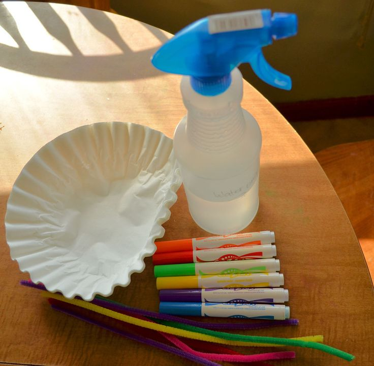 color on coffee filter, spray with water - tie dye!