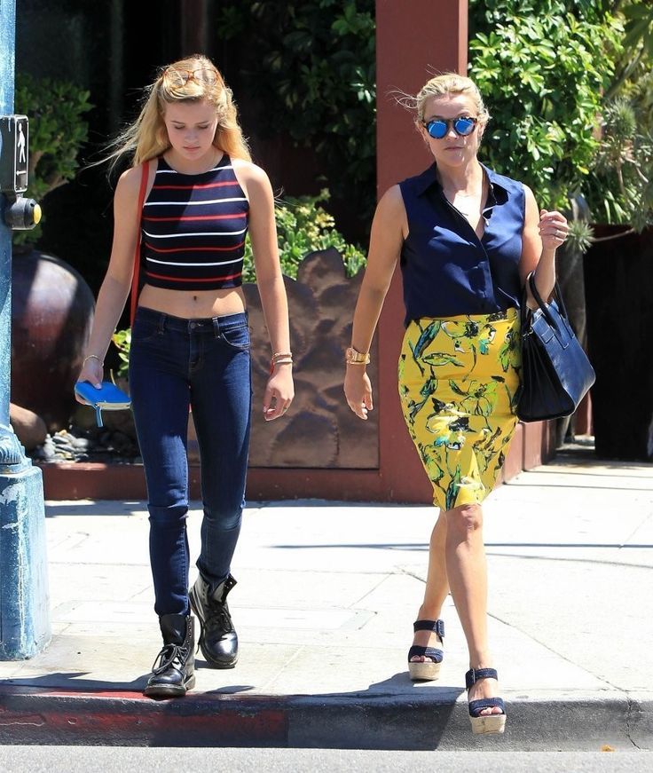 Reese Witherspoon and Ava Elizabeth Phillippe are seen on August 14, 2015 in Los Angeles, California.