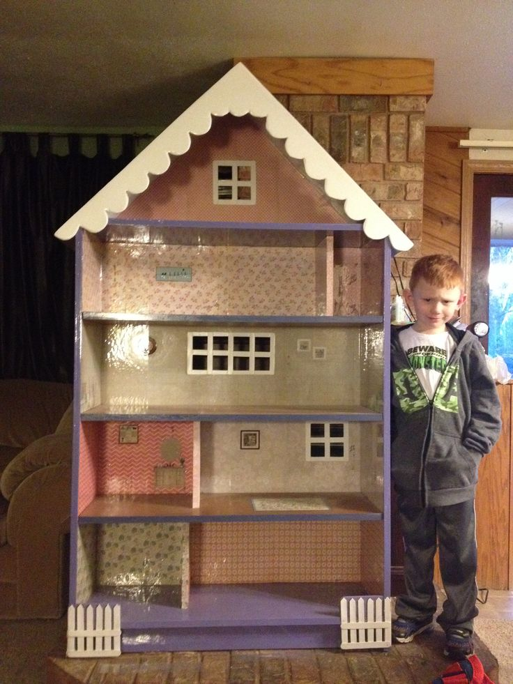 Barbie Doll House Made From A Bookshelf I Used Scrapbook Paper For Wallpaper Barbie Doll