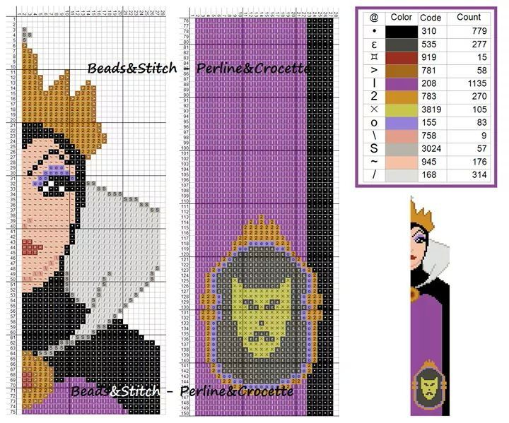 Cross stitch chart Disney Villain Evil Queen / wicked stepmother bookmark (snow white )