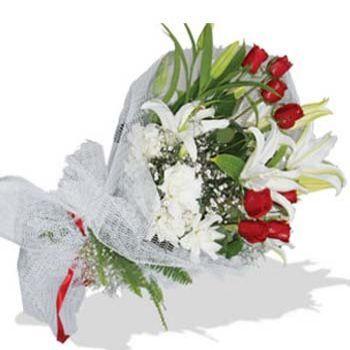 gül ve lilyum buketi http://www.trabzonflowers.com/